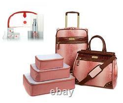 Samantha Brown Gaufrée 5 Pièces Ombre Luggage Set Rose Rose & Dusty Bonus Kit