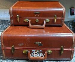 Samsonite Ensemble Brown Marble Hard Case Faux Bagages En Cuir De 2 Vintage 4915
