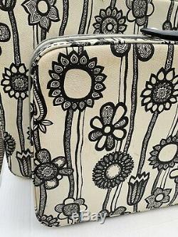 Samsonite Fashionaire 2 Pièces Set Noir Et Bagages Car Fleurs Blanches