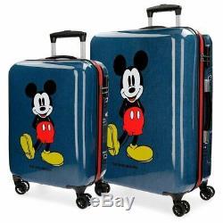 Set 2 Trolley Cabina Mickey Mouse Uomo Donna Disney Homme Femme Azzurro Bleu Clair