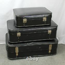 Set 3 Valises À L'extension Noir Vintage Des Années 1960. Cas De Voyage À Coque Dure
