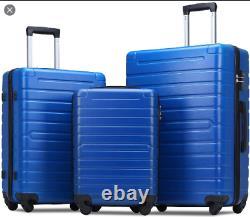 Set À Bagages Flieks 3 Pièces Avec Serrure Tsa -blue