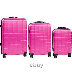 Set DI 3 Valigie Abs Rigido Trolley Valigie Bagaglio A Mano Elegante Rosa Fucsia
