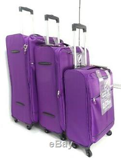 Set De 3 Valises Lightweight 4 Roues Valise Valise Trolley Bagage De Voyage Pur