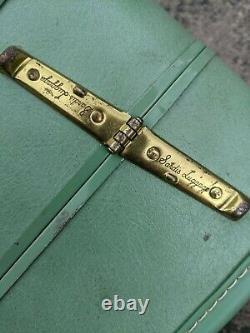 Set De Valises En Vinyle Bleu/vert Taperlite Vintage Sans Clés