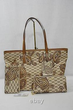 T.n.-o. Michael Kors Paisley Jet Set Travel Continental Wallet / Wristlet In Luggage