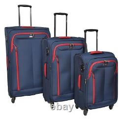 Valise 4 Roues Spinner Soft Travel Luggage With Combination Lock Bag Blue