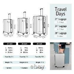 Valise Cabine Ensemble Bagages Carry On Silver 30abs Spinner Lightwheight Travel