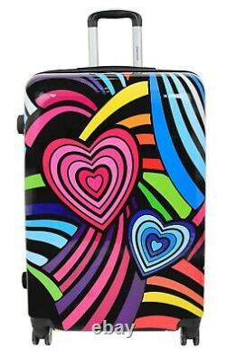 Valise Sacs De Voyage Extensibles Hard Shell Multicolour Hearts 4 Wheel Luggage