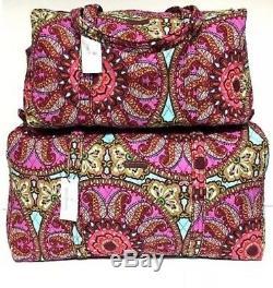 Vera Bradley Resort Médaillon Matelassée Petits & Grands Duffel Bag Set Nouveau Bagages