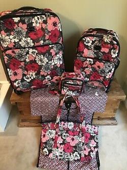 Vera Bradley Spinner Luggage Set Retraite Mocha Rouge Excellente