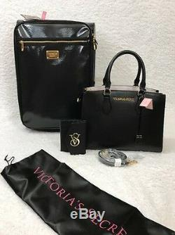 Victoria Secret 3pc Wheelie Valise Luggage Set 100% Bourse Et Passeport En Cuir