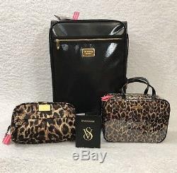 Victoria Secret 4pc Noir Valise Luggage Set Cas D'impression Withanimal Et Passeport