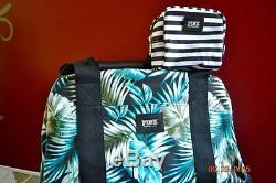 Victoria Secret Rose Black & Palm 3 Pc Wheelie Duffle Bag Luggage Set Tn-o