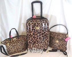 Victoria Secret Supermodel Leopard Luggage Set Wheelie Valise Duffle Bag Tn-o