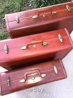 Vintage 1950 Ensemble De 3 Authentique Samsonite Tan Cuir Valises Bagages