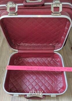 Vintage 1970s 5pc Bagage Set Valise Garment Sac Burgundy Vinyl Hard-shell