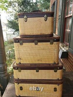 Vintage 4 Pièce Amelia Earhart Airoplane Tweed Luggage Set
