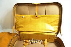 Vintage 5 Pièces Yellow Vinyl Valise Bagages Souples Ensemble Sacs De L'époque Des Années 1970 Continuer