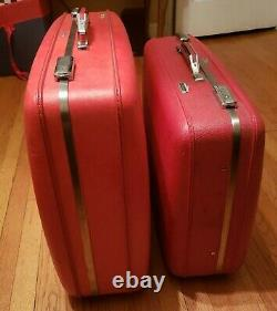 Vintage American Tourister Red Travel Bagage Set 2 Pièces MID Century Modern