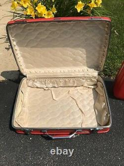 Vintage American Tourister Rouge Voyage Luggage Set 2 Pièces Milieu Du Siècle Moderne