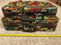 Vintage Bantam Floral Pattern Bag Suitcase Bag Paire Set Great Condition