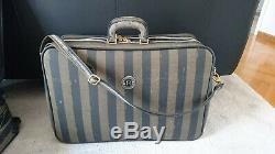 Vintage Fendi Pequin Stripe Set Imprimer Voyage 4 Pcs