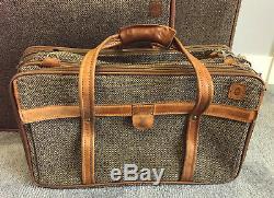 Vintage Hartmann Luggage Set Cuir Et Tweed 4 Pc
