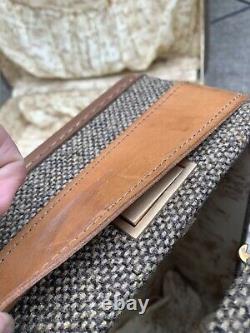Vintage Hartmann Set De Bagages Tweed/leather Boîtes D'origine Et Revêtement En Plastique Nouveau