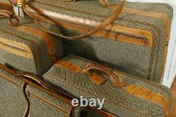Vintage Hartmann Tweed Canvas Leather Travel Luggage Bag Valise Ensemble De 5