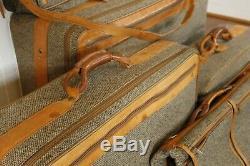 Vintage Hartmann Tweed Toile Costume Bagages Voyage Sac En Cuir Set Valise De 5