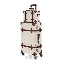 Vintage Luggage Set De Luxe En Cuir Valises Mode Sac À Main Beige Bagages