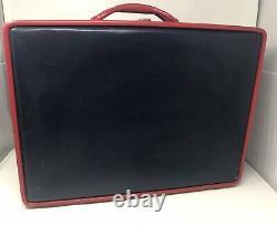 Vintage MID Century Aero Pal Navy Blue Red Suitcase Vanity Luggage Ensemble De 2