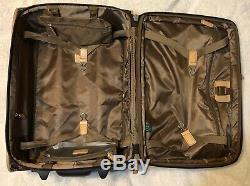 Vintage Ralph Lauren Monogram Valise Brown Luggage Set Roulant
