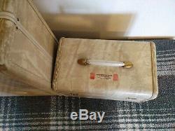 Vintage Samsonite Crème / Ivoire Set Marbre Bagages. Garde-robe Womans, Cas De Train