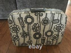 Vintage Samsonite Fashionaire Luggage Set White - Fleurs Noires 4 Pièces