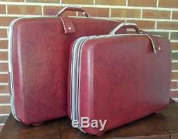 Vintage Samsonite Rouge Maroon Hardside Luggage Set Valise 2 Pièces