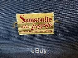 Vintage Samsonite Shwayder Bros Hawaïenne Bleu / Os 2-pièces De Bagages