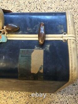 Vintage Samsonite Suitcase Blue Marble MID Century Moderne Large Corps Set 2