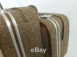 Vintage Skyway Ensemble 2 Pièces Brown Sacs Tweed Voyage Valise Bagages Roulants