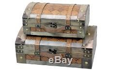 Vintage Valise De Coffre Train Rétro En Cuir Cas Chests Antique Luggage Set De 2