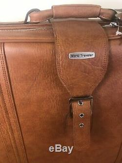 Vintage World Traveler Brown Cuir Valise Voyage Bagages 5 Pcs Rare