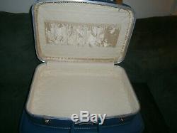 Vtg 4 Pièces Nesting Valises Luggage Set Doublé Hardcase Bleu Rétro Navires Gratuit