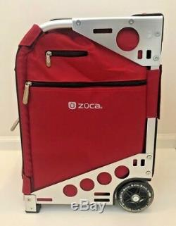 Zuca Pro Set Sac 3 Pochettes Cadre Argent Rouge Avec Housse De Voyage Siège Artiste Maquilleur